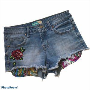 CALI 1850 Denim Shorts   Red Rose   Women's Size 3